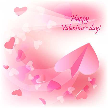 heats: Romantic valentine background, with paper plane and heats patterns