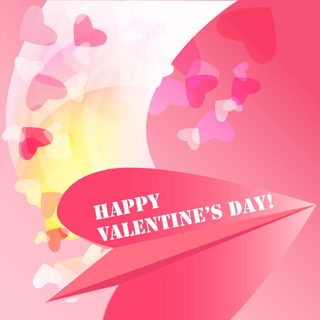 heats: Romantic valentine background, with paper plane and heats patterns .  Illustration