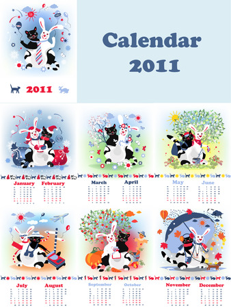 Set of months calendars for 2011, with fantastic cat rabbit creature.  Vector