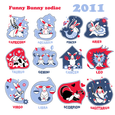 Funny bunny star sings set. Stock Vector - 8159087