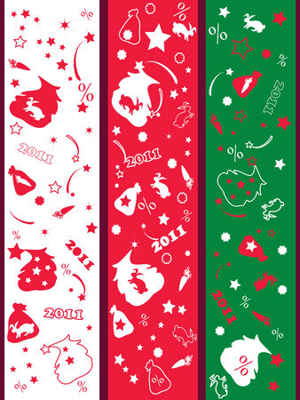 Decorative, Christmas discount  vertical banners.  Vector