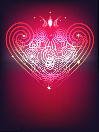 gamut: Festive valentine's background, with shining ornamental heart and crown. Illustration