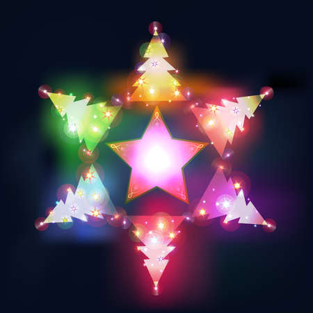 Festive background with shining Christmas trees.  Vector