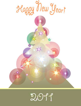 Festive background with shining Christmas tree.  Vector