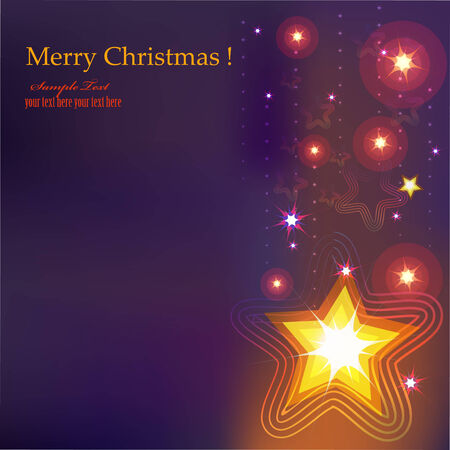Festive Christmas postcard with shining decorative star. Vector