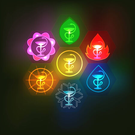 Set of multicolored medical icons Vector