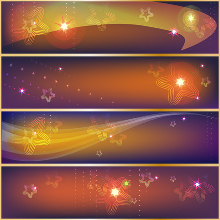 Set of festive Christmas banners with shining stars.  Vector