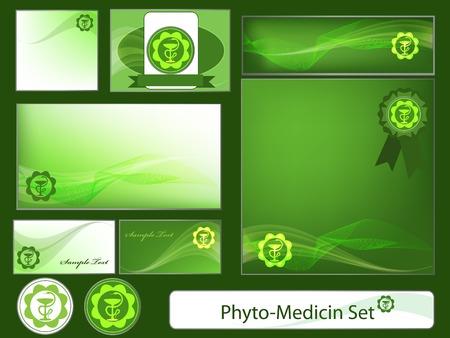 Phyto-medicine set of design elements.  Ilustração