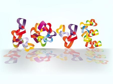 interweaving: La parola amore fatta da forme di cuore intreccio multicolore.