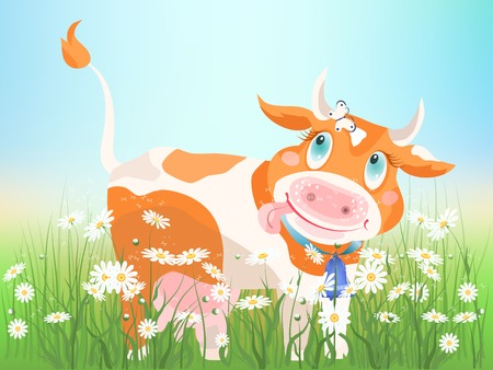 The small red cow on chamomiles meadow. Stock Vector - 8507534