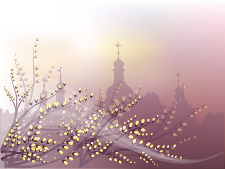 Spring background with pussy-willow and orthodox churches outline. Stock Vector - 8507538