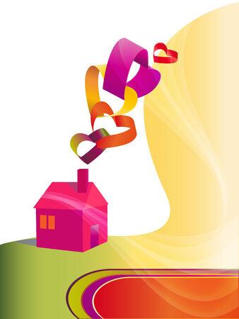 interweaving: Sfondo con il simbolo della casa e forme di cuore intreccio multicolore.