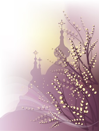 Spring background with pussy-willow and orthodox churches outline.  Illustration