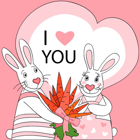 Cute Valentine postcard with couple of rabbit. Stock Vector - 8547249