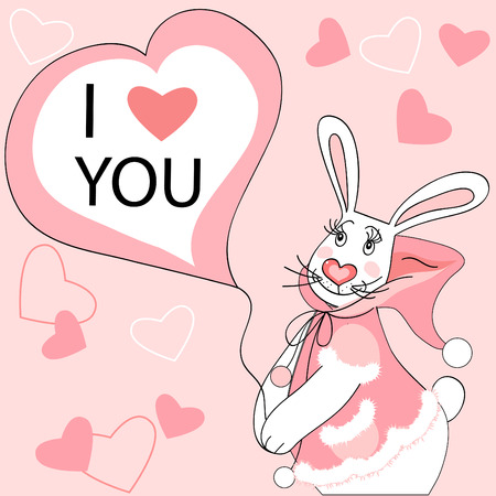 Cute light pink Valentine postcard with rabbit girl character.  Vector