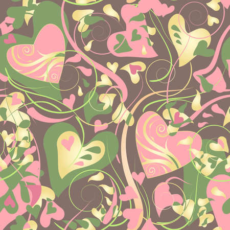 Decorative background with ornamental hearts patterns. Vector