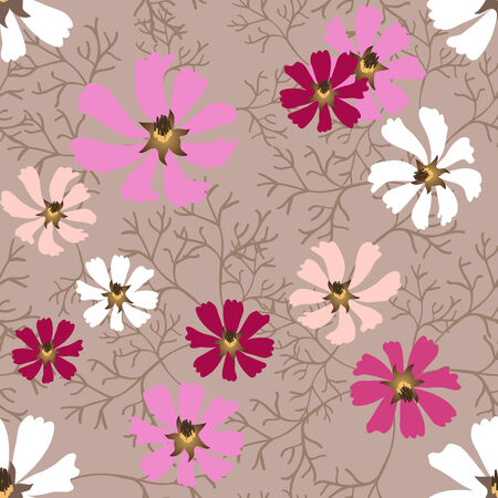 Beautiful decorative seamless background with flowers Vector
