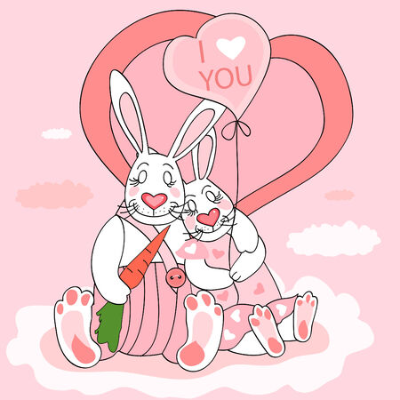 Cute Valentine postcard with couple of rabbits.  Vector