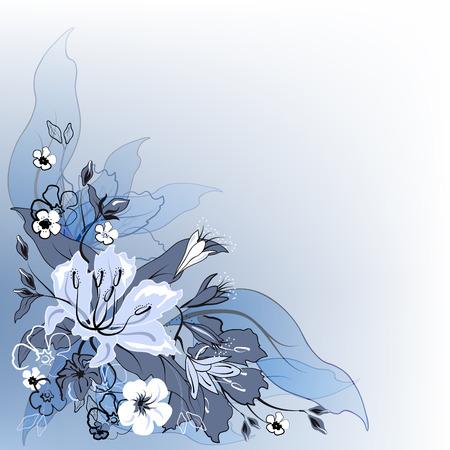 gamut:  Decorative floral background in blue gamut.