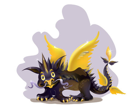 Funny black dragon with golden wings.  Vector