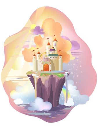 Castillo de cuento de hadas, en isla mágica.  Ilustración de vector