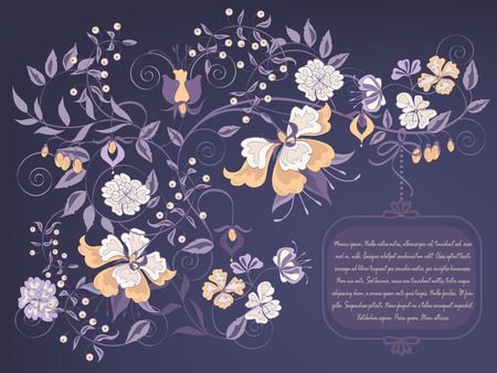 Decorative dark floral background with place for text.