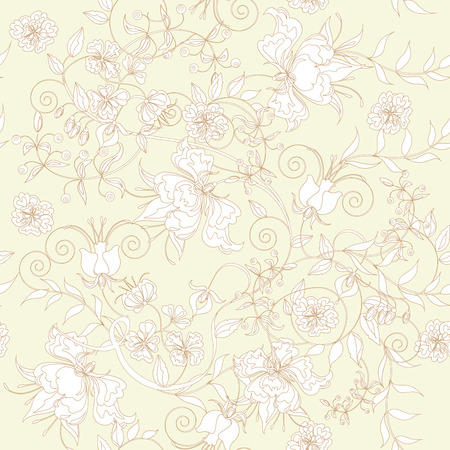 botanic: Decorative seamless light ivory background.