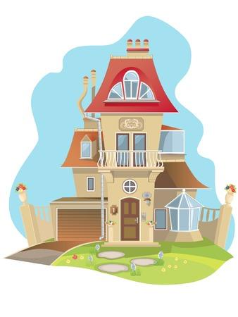 case colorate: Famiglia ideale nuova casa bella indipendente.  Vettoriali