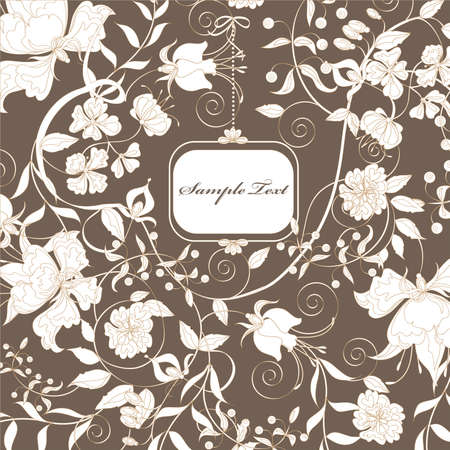 Decorative brown floral background with place for text.  Vector