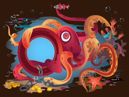 Red funny octopus on ocean floor. Фото со стока - 9051328