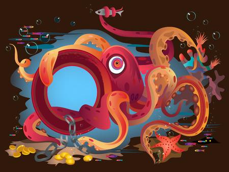 ocean floor: Red funny octopus on ocean floor.