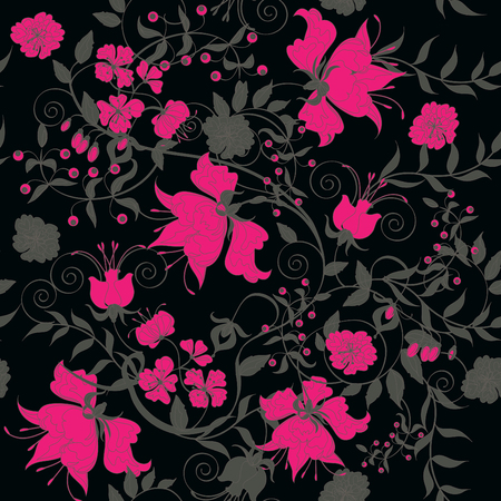 Decorative seamless black background with pink flowers.   Vector
