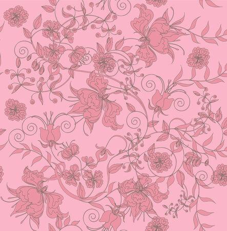 repeatable: Decorative seamless light rose background.  Illustration