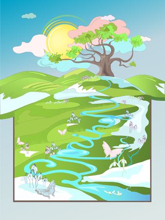 Beautiful spring rural landscape, with oak tree.  Vector