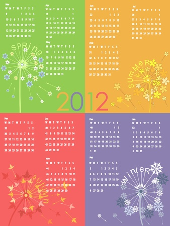 Colorful dandelion calendar 2012.  Vector