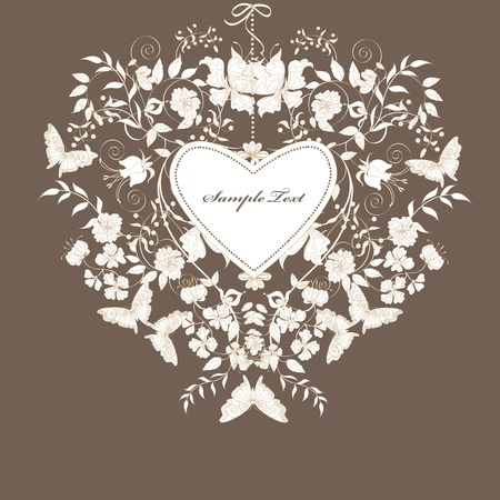 Decorative brown floral background with place for text.
