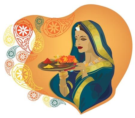 sari: Hermosa ni�a India en ropas tradicionales.  Vectores