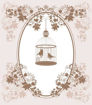 vintage bird: Vintage background with flowers and birds in cage. Illustration