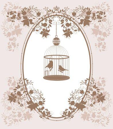 gabbie: Vintage sfondo con fiori e uccelli in gabbia. Vettoriali