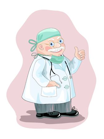smock: Optimistic doctor in smock with stethoscope.