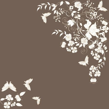 Decorative brown floral background with flowers and butterflies.  Vector