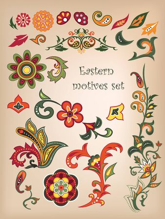 Colorful seamless with eastern patterns.  Vector