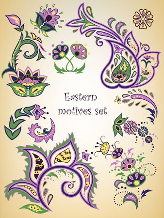 Colorful Eastern patterns set.