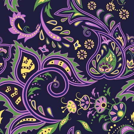 Colorful dark blue seamless with eastern patterns Vector