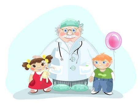 Kind medicine doctor pediatrician with children. Stock Vector - 9319957