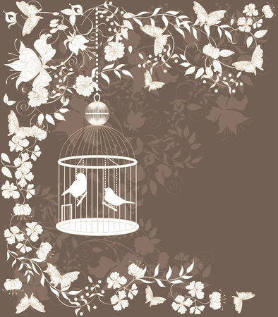 Vintage background with flowers and birds in cage. Illustration