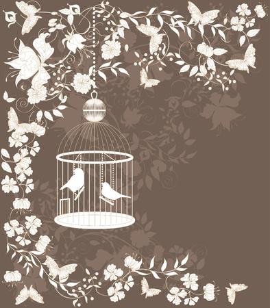refine: Vintage sfondo con fiori e uccelli in gabbia. Vettoriali