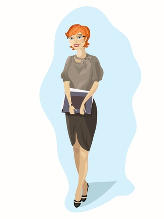red haired woman: Young working professional women, agent, secretary, clerk. Illustration