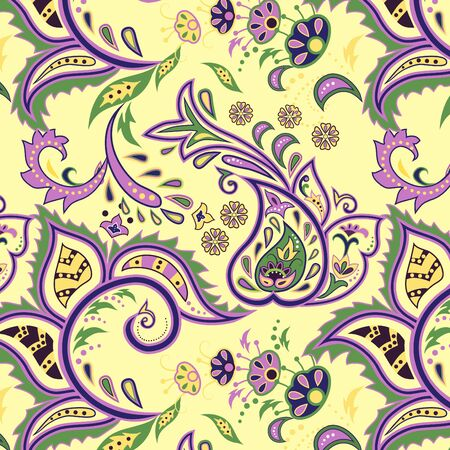 Colorful light yellow seamless with eastern patterns.  Vector