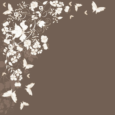Decorative brown floral background with flowers and butterflies.  Illustration